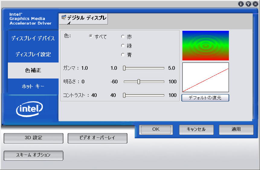 Intel Graphics Media Acceleratorの設定画面