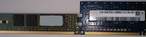ロープロファイルメモリと通常サイズメモリの高さの比較