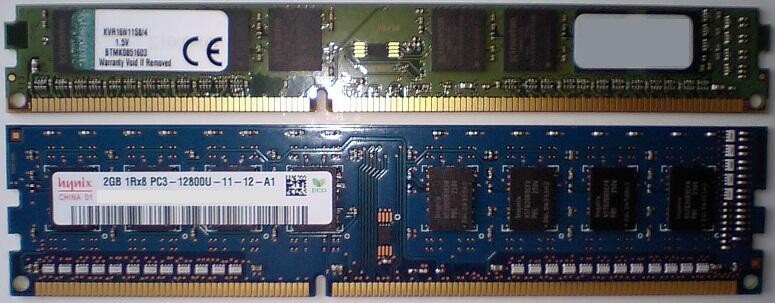 ロープロファイルメモリと通常サイズメモリのサイズ比較