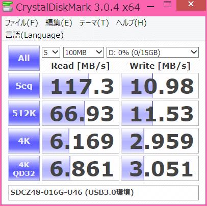 SDCZ48-016G-U46のCrystalDiskMark3.0.4でのベンチマーク結果