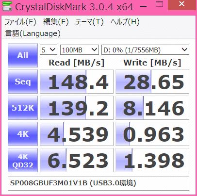 SP008GBUF3M01V1BのCrystalDiskMark3.0.4でのベンチマーク結果