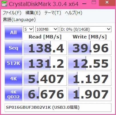 SP016GBUF3B02V1のCrystalDiskMark3.0.4でのベンチマーク結果